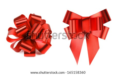 Two big red bows. Isolated on a white background. - stock photo