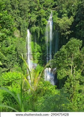 Two big waterfalls, Bali, Indonesia - stock photo