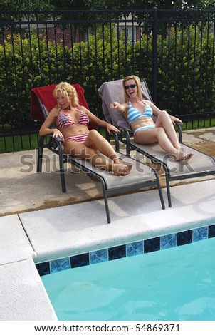 Two Bikini Blond Women Poolside Pointing and Shocked - stock photo
