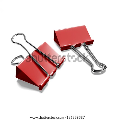 Two binder clips on a white background isolated