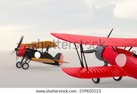 Two biplanes on the ground. Clipping path available.