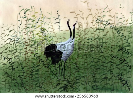 two birds in the reeds - stock photo