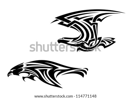 Two birds mascots in tribal style for tattoo design, such a logo template. Vector version also available in gallery