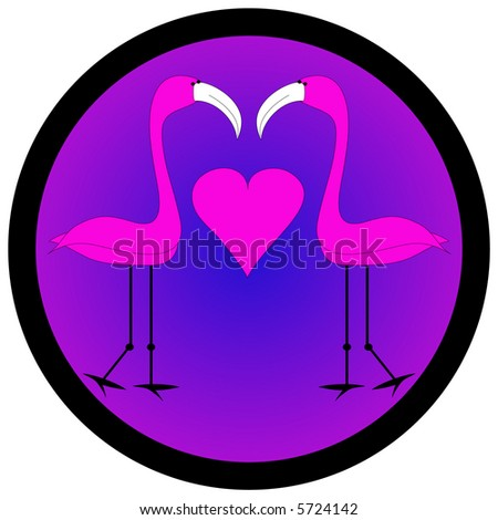 Two birds with heart graphic. - stock photo