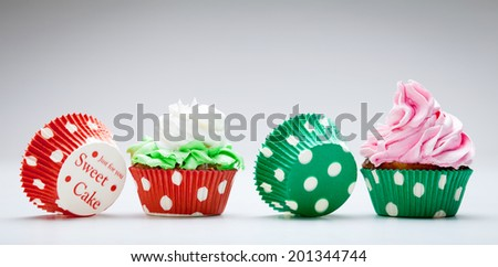 Two  Birthday cupcakes - stock photo