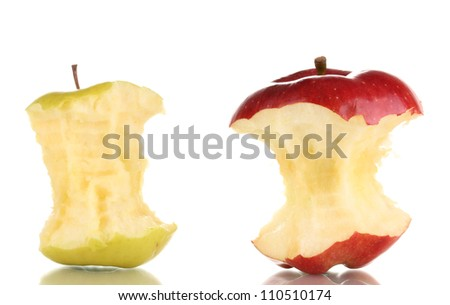 Two bitten apples isolated on white - stock photo