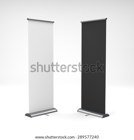 two black and white rollups or banners on light background - stock photo