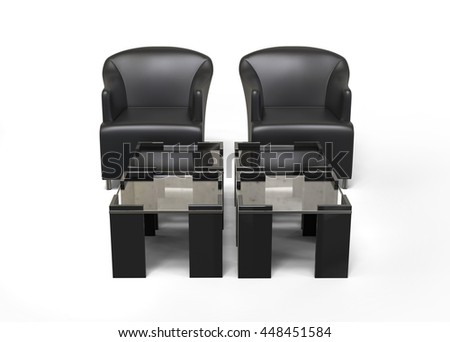 Two black armchairs with set of coffee tables in front of them - 3D Render