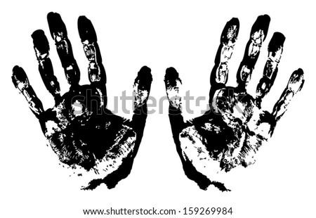 Two Black Art Hand Prints, raster grunge illustration  - stock photo