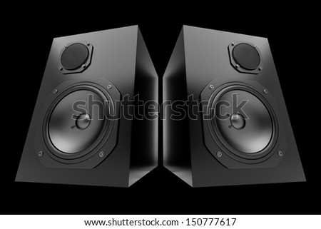 two black audio speakers isolated on black background