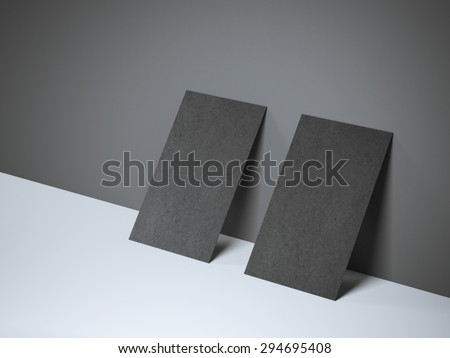 Two black blank business cards - stock photo