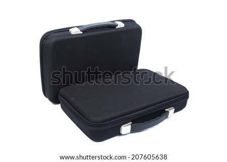 Two black briefcase on white isolated background.packshot on studio.