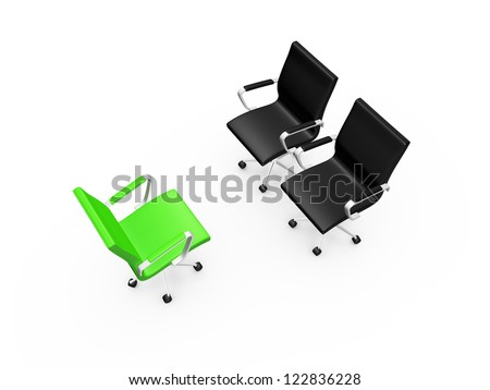 Two black chairs on a meeting with green chair, isolated on white background. - stock photo