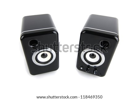 Two black sound speaker on white background - stock photo
