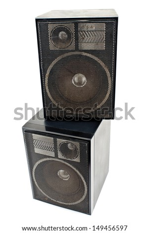 Two black sound speakers isolated on white