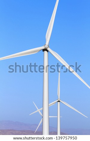 Two Bladed Wind Turbines - stock photo