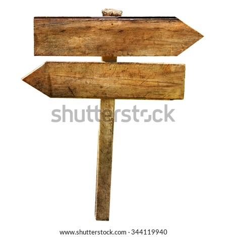 Two blank arrows crossroad wooden directional signs isolated       - stock photo