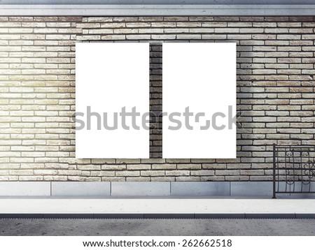 Two blank billboard on wall in the street - stock photo