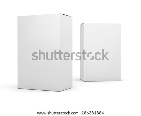 Two blank box vertical products template - stock photo