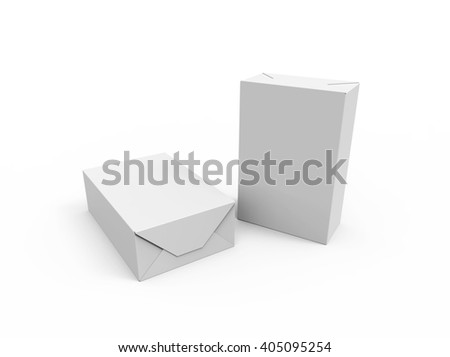 Two Blank boxes, isolated on white background. Package design mockup, 3D illustration - stock photo