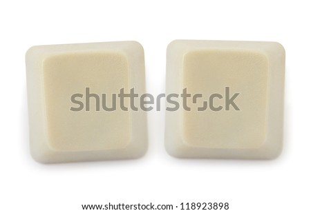 Two blank computer buttons isolated on white background