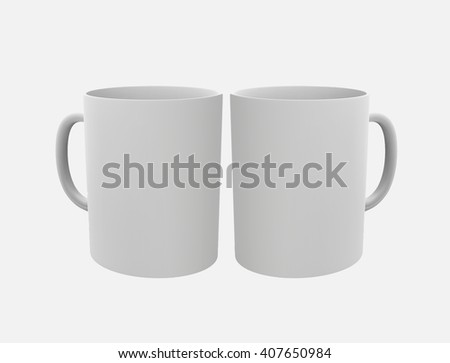 Two blank cups. Mockup for your design, 3D illustration