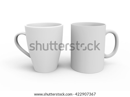 Two blank cups with different form, isolated on white background. 3D illustration