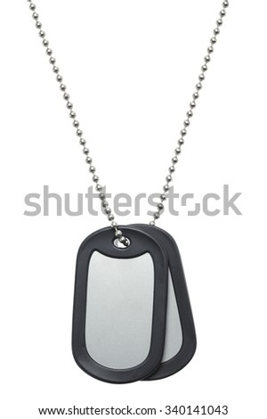 Two Blank Hanging Military Dog Tags Isolated on a White Background.