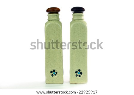 Two blank kitchen bottle.