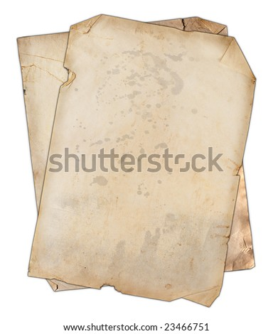 Two blank old isolated papers