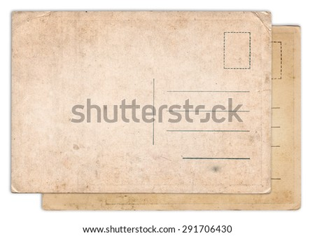 Two blank old vintage postcard isolated on white background - stock photo