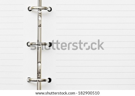 two blank page on diary with metal ring - stock photo