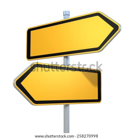two blank road signs pointing in the different directions - stock photo