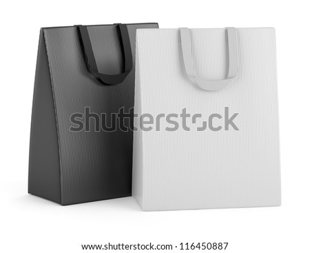 two blank shopping bags isolated on white background