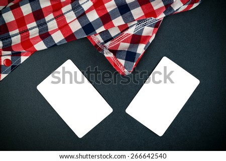 Two Blank Vertical Business Cards with Rounded Corners as Empty Copy Space Mock Up for Your Design like Clothes Industry for Example, Top View - stock photo