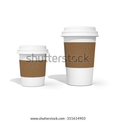 Two blank white coffee cups with black caps, cardboard holders and shadow isolated on clean white background. Ready for mock up, add logo.