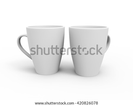 Two Blank White Cups, Mockup. 3D Illustration - stock photo