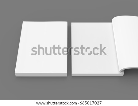 two blank white 3d rendering books, one open, dark gray background, elevated view, close up