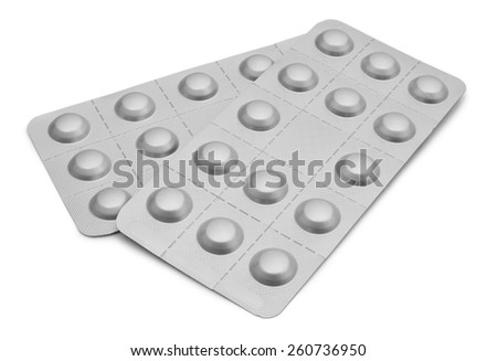 Two Blister Packets of Pills isolated on white background with clipping path - stock photo