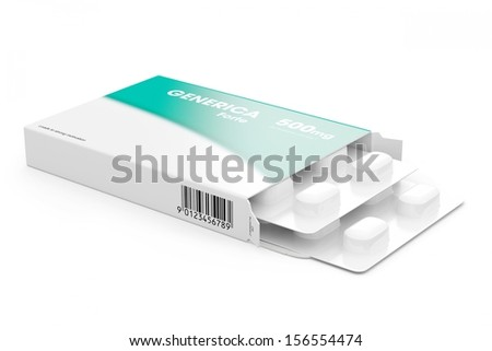 two blisters of generica pills on white background - stock photo