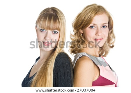 Two blond girlfriends. Isolated on white background