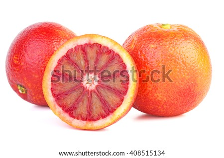 Two bloody red oranges and half isolated on white background. - stock photo