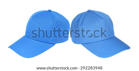 Two blue baseball cap isolated on a white background - stock photo