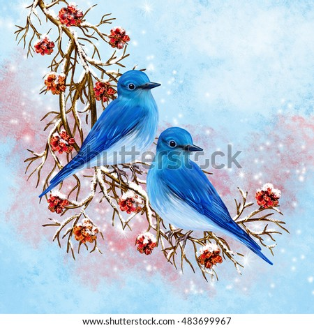 Two blue birds sitting on a branch. Red berries, snow, winter background. Christmas composition.