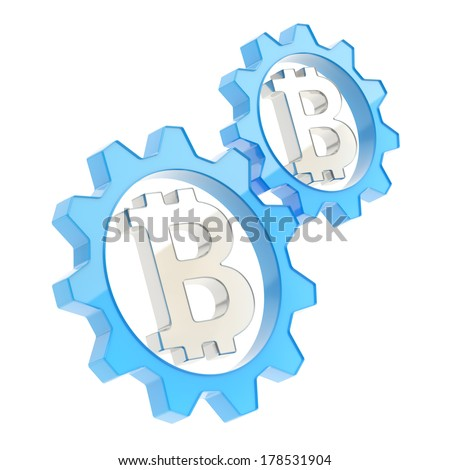Two blue cogwheel gears with a metal bitcoin crypto currency sign inside composition isolated over white background - stock photo