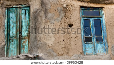 Two blue door and clay wall in Kandovan Iran : clay door - pezcame.com
