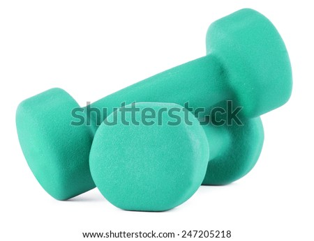 Two blue dumbells on white background - stock photo