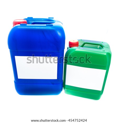 Two blue green plastic canisters, containers with label; your text here; isolated on white background  - stock photo