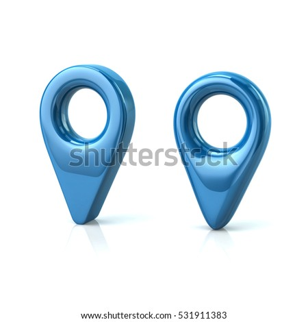 Two blue map pins 3d illustration isolated on white background