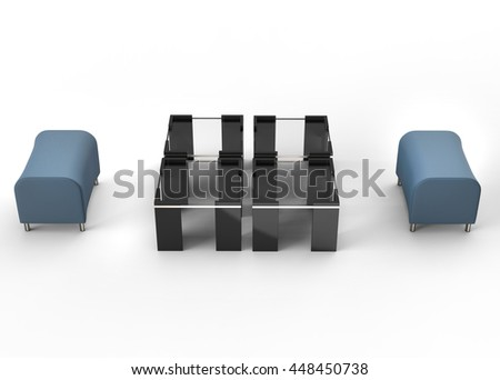 Two blue ottomans and black coffee tables between them - isolated on white -3D render